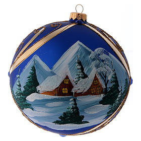 Christmas ball in blue glass with snowy landscape in golden frame 150 mm s3