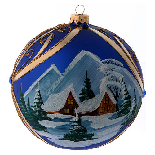 Christmas ball in blue glass with snowy landscape in golden frame 150 mm 1