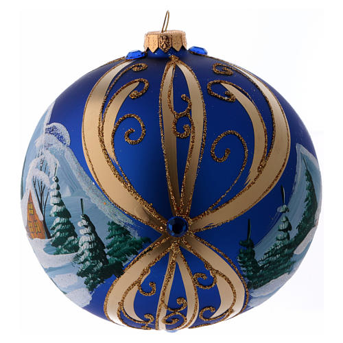 Christmas ball in blue glass with snowy landscape in golden frame 150 mm 2