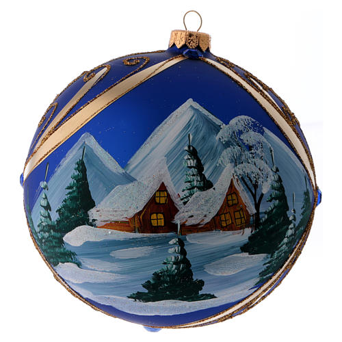 Christmas ball in blue glass with snowy landscape in golden frame 150 mm 3
