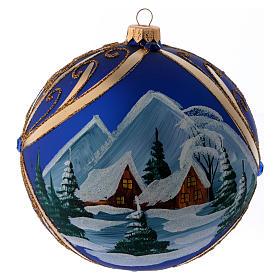 Palla di Natale vetro blu paesaggio innevato in cornice dorata 150 mm s1