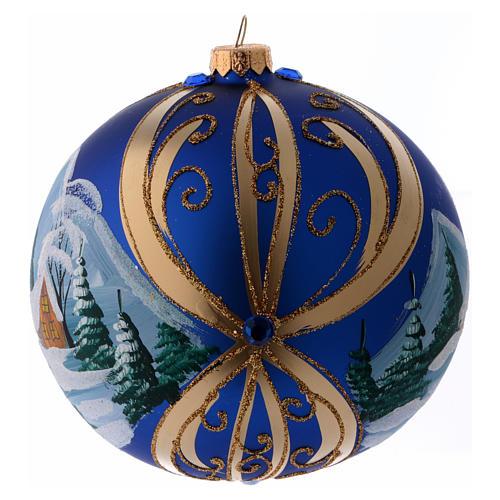 Palla di Natale vetro blu paesaggio innevato in cornice dorata 150 mm 2