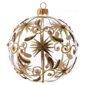 Bolita de Navidad vidrio transparente estrellitas doradas con purpurina 100 mm s1