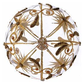 Bolita de Navidad vidrio transparente estrellitas doradas con purpurina 100 mm s3
