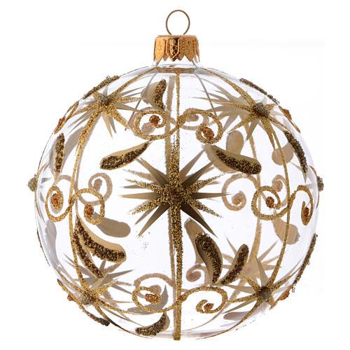 Bolita de Navidad vidrio transparente estrellitas doradas con purpurina 100 mm 1