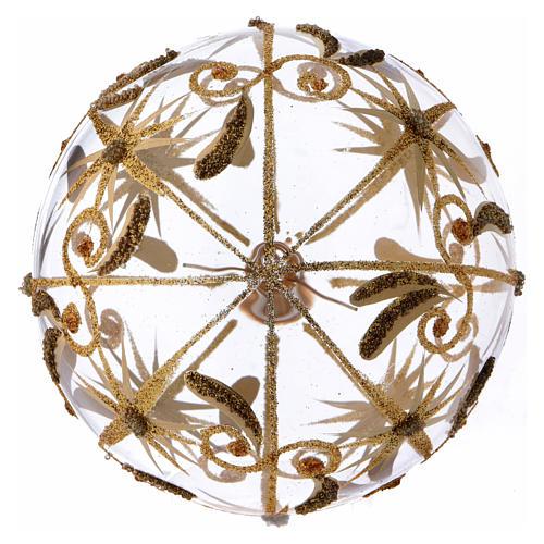 Bolita de Navidad vidrio transparente estrellitas doradas con purpurina 100 mm 3