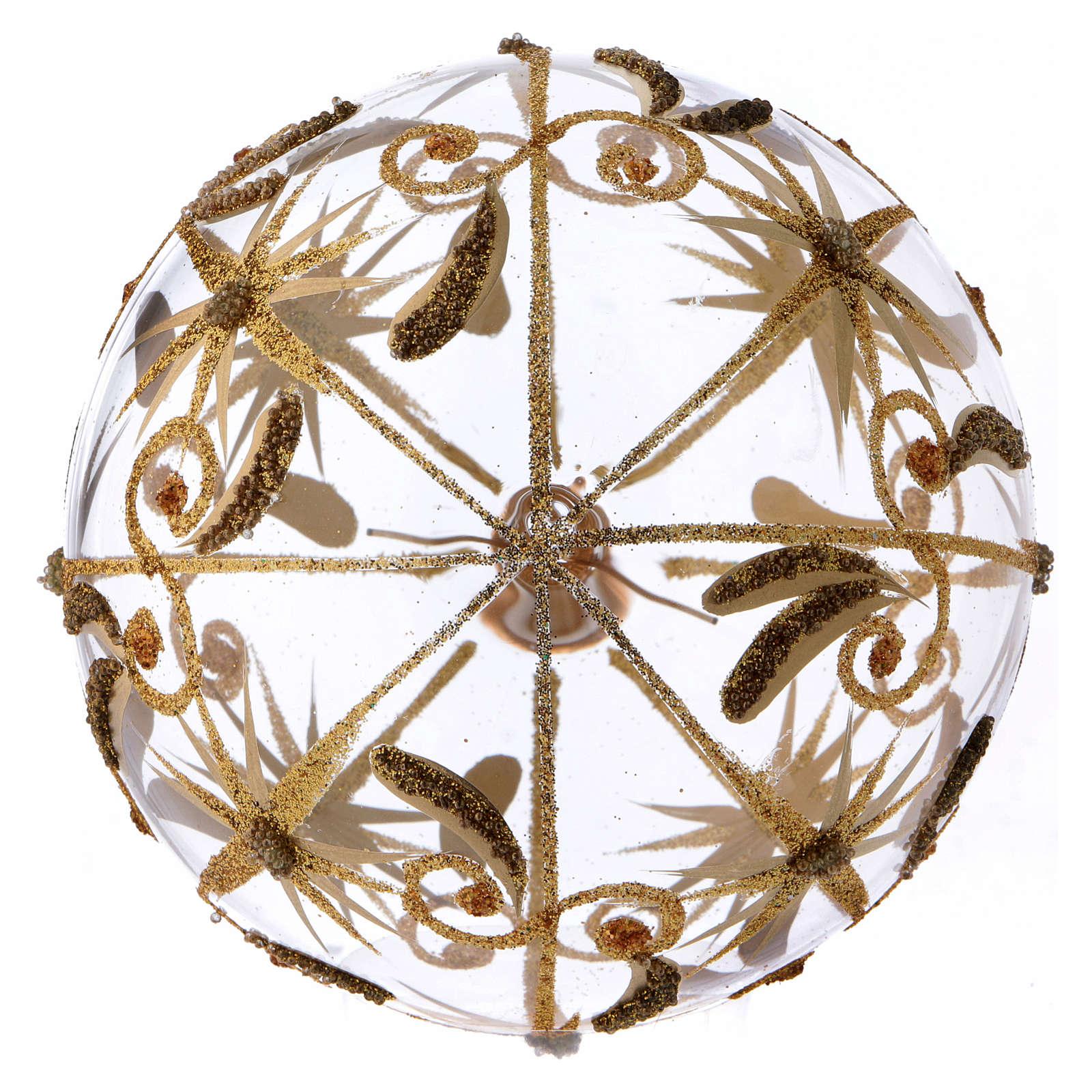 Boule de Noël verre transparent étoiles dorées pailletées 100 mm 4