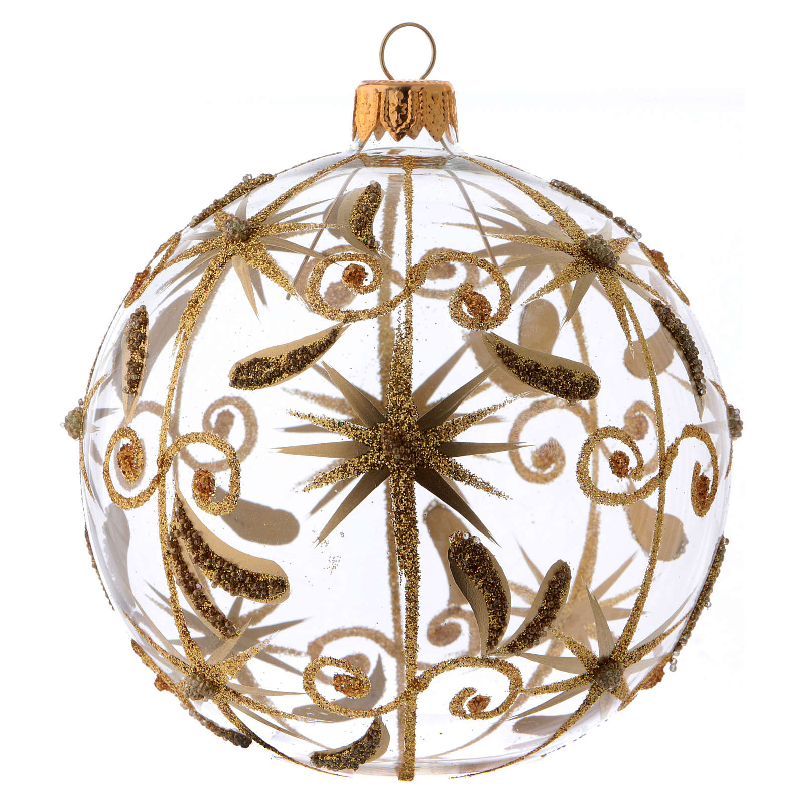 Transparent blown glass Christmas ball with gold decoration and glitter 10 cm 4