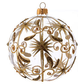 Transparent blown glass Christmas ball with gold decoration and glitter 10 cm s1