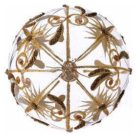 Transparent blown glass Christmas ball with gold decoration and glitter 10 cm s3