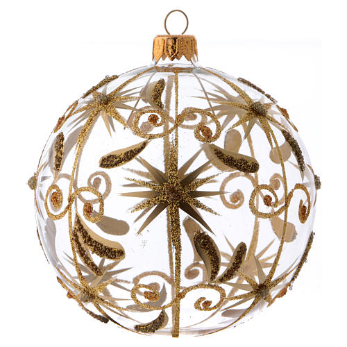 Transparent blown glass Christmas ball with gold decoration and glitter 10 cm 1