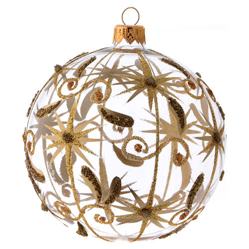 Transparent blown glass Christmas ball with gold decoration and glitter 10 cm 2