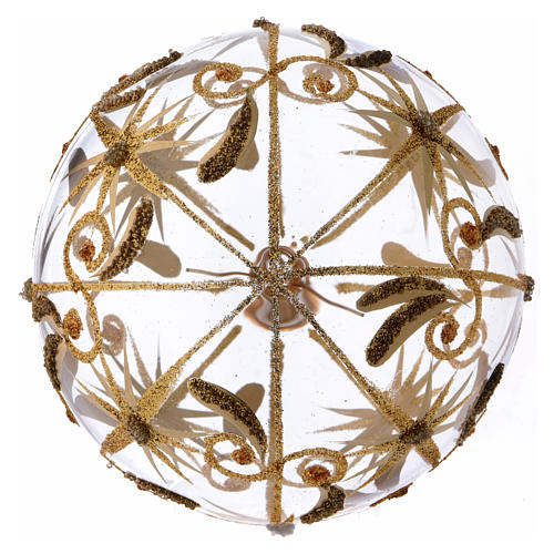 Transparent blown glass Christmas ball with gold decoration and glitter 10 cm 3