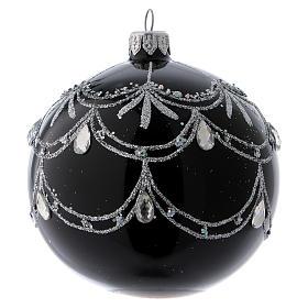 Boule de Noël noire décoration argentée avec larmes de brillants 100 mm s1