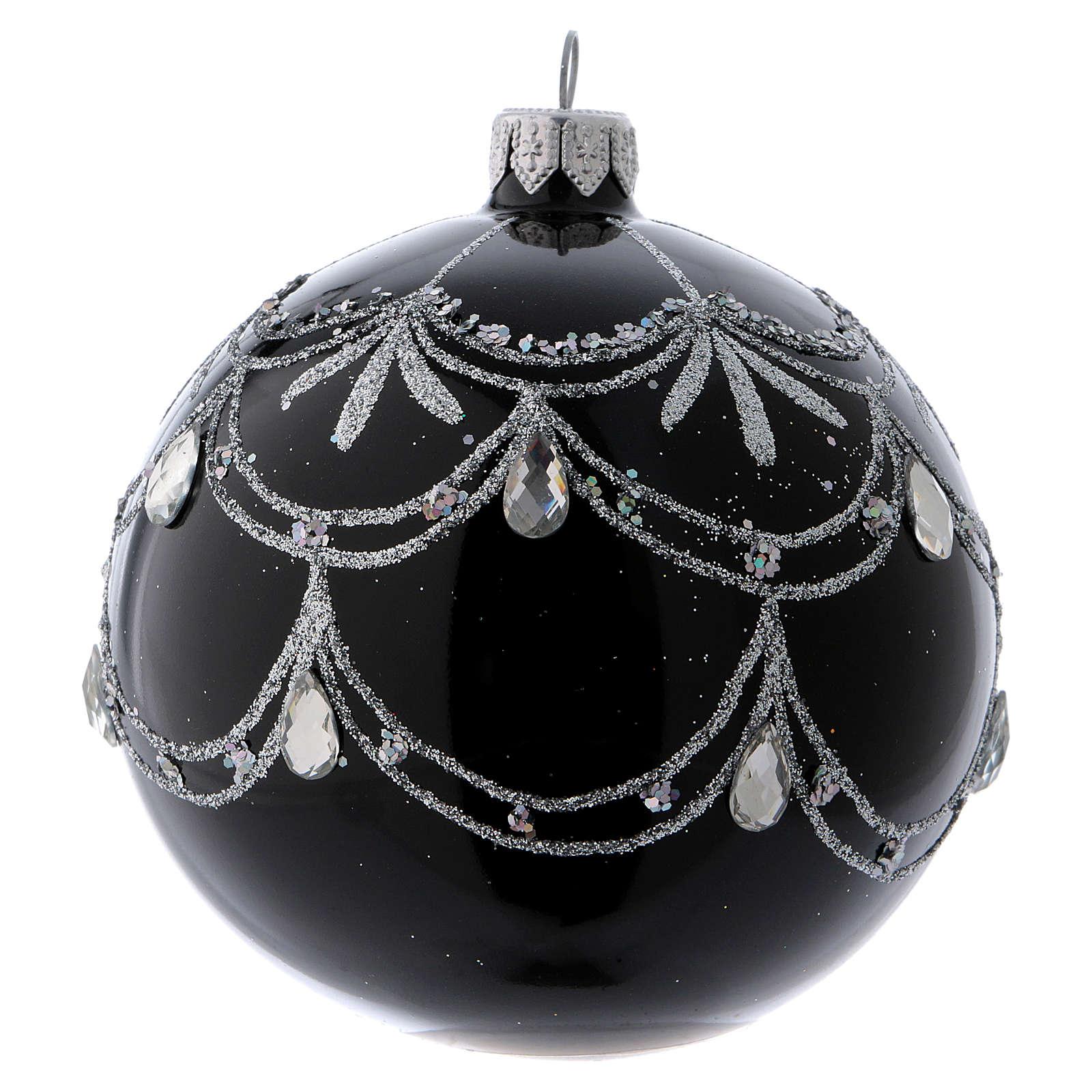 Pallina di Natale nera fregio argentato con lacrime di brillanti 100 mm 4