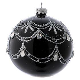 Pallina di Natale nera fregio argentato con lacrime di brillanti 100 mm s2