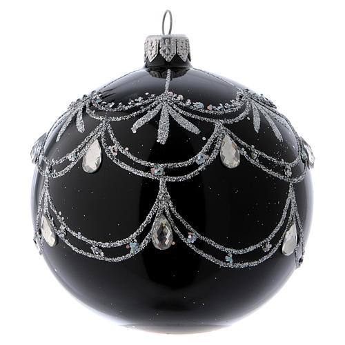 Pallina di Natale nera fregio argentato con lacrime di brillanti 100 mm 1