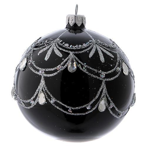 Pallina di Natale nera fregio argentato con lacrime di brillanti 100 mm 2