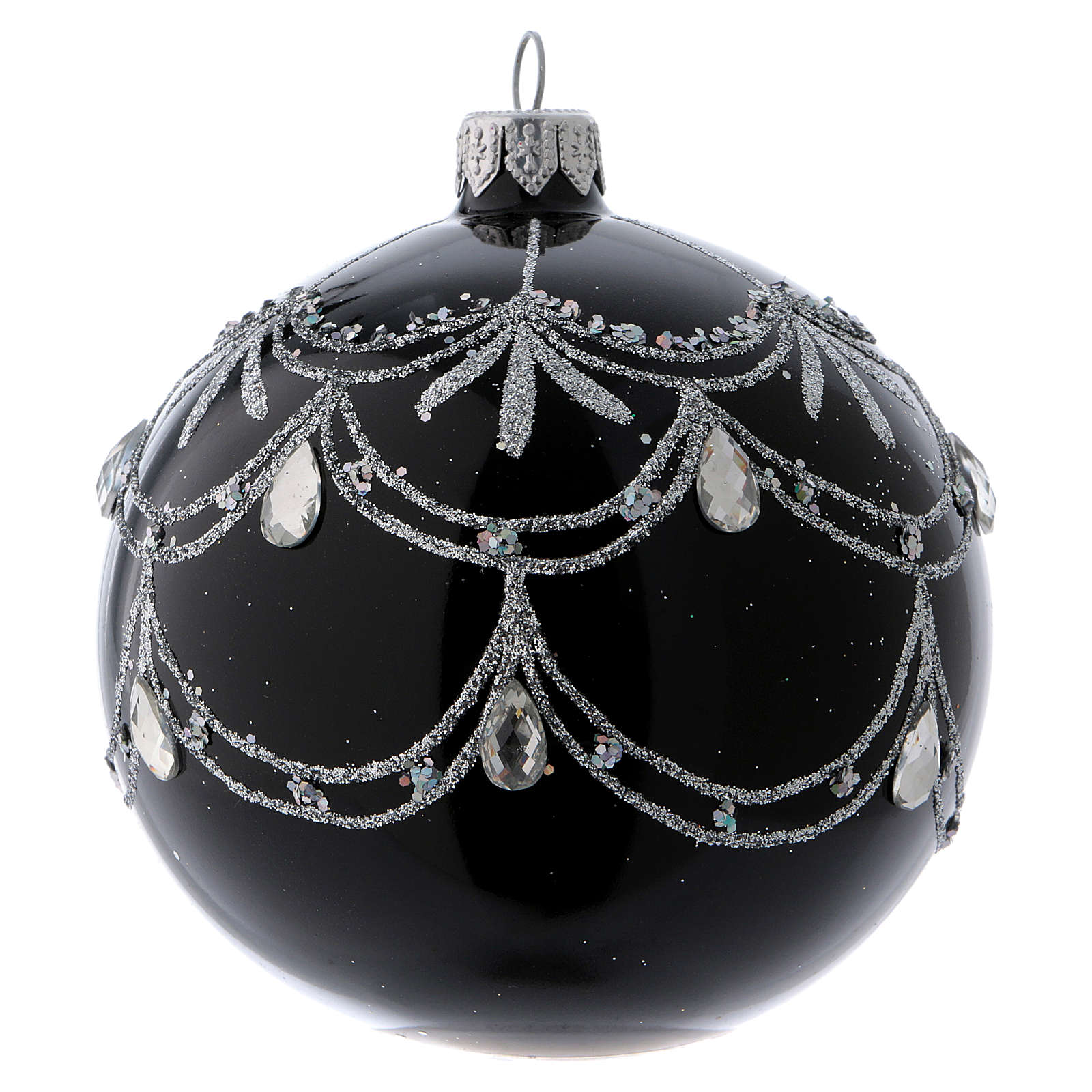 Black blown glass ball with silver glitter design and gems 10 cm 4