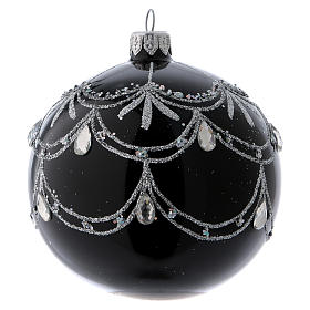 Black blown glass ball with silver glitter design and gems 10 cm s1