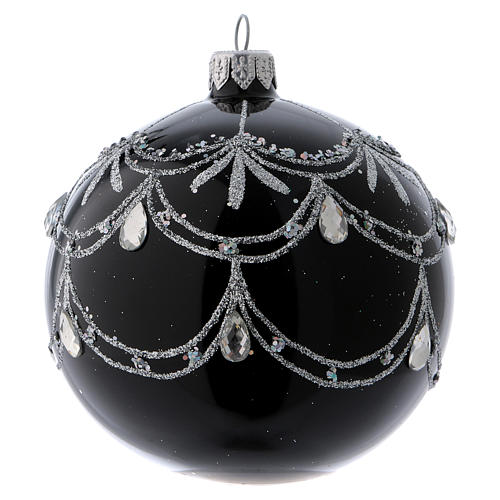 Black blown glass ball with silver glitter design and gems 10 cm 1