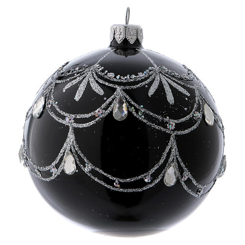 Black blown glass ball with silver glitter design and gems 10 cm 2