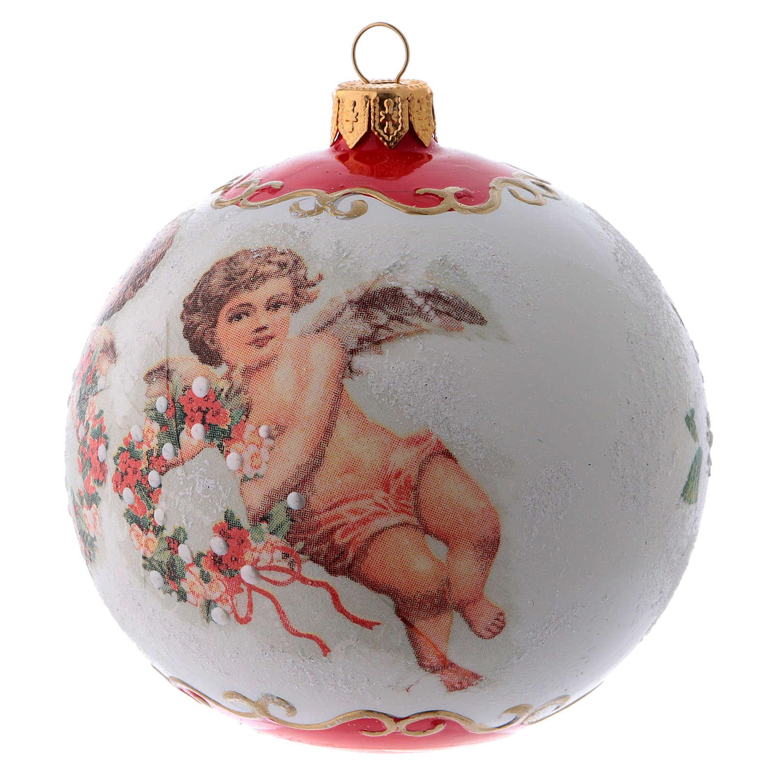 Pallina Albero di Natale vetro bianco ornamento Angeli e fiori 100 mm 4