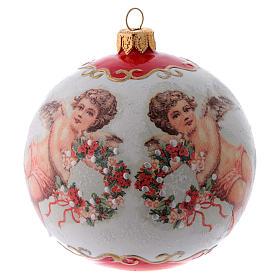 Pallina Albero di Natale vetro bianco ornamento Angeli e fiori 100 mm s1