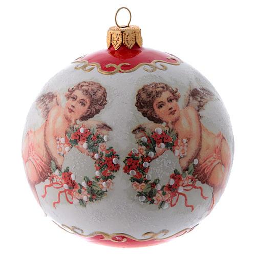 Pallina Albero di Natale vetro bianco ornamento Angeli e fiori 100 mm 1