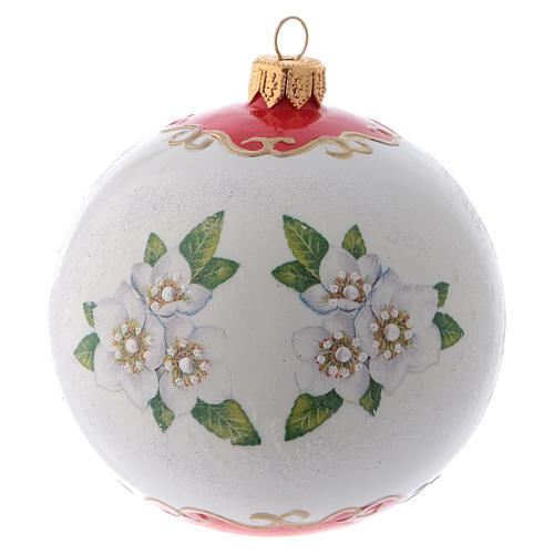 Pallina Albero di Natale vetro bianco ornamento Angeli e fiori 100 mm 3