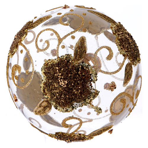 Christmas ball in transparent glass with golden glitter orchids 100 mm 3