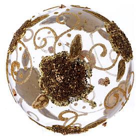 Boule de Noël verre transparent orchidées dorées pailletées 100 mm s3