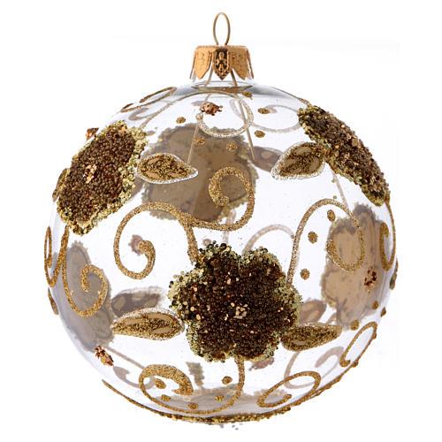 Boule de Noël verre transparent orchidées dorées pailletées 100 mm 1