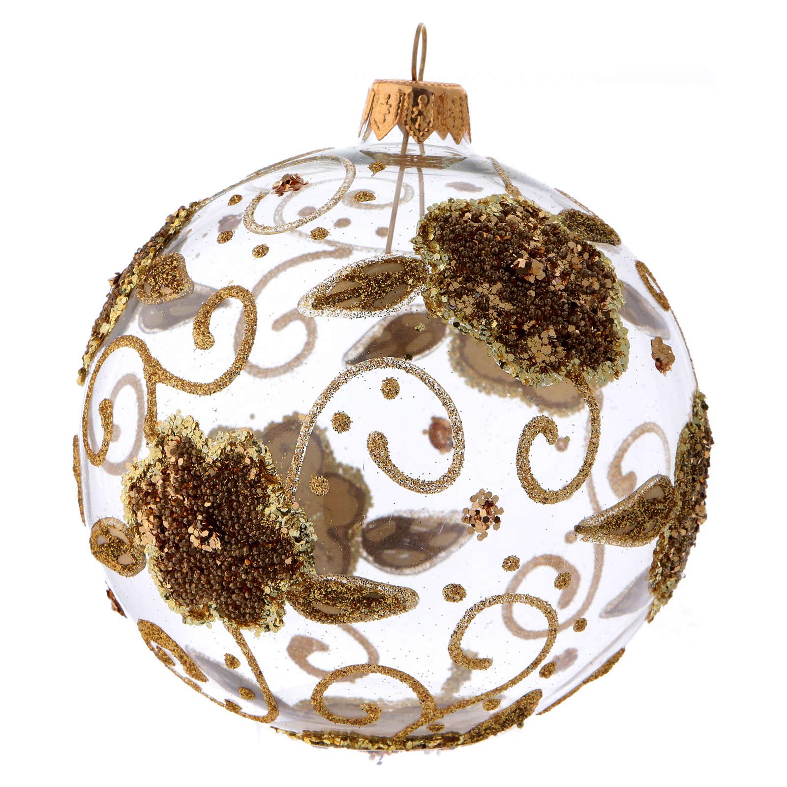 Bola de Natal vidro transparente orquídeas douradas com glitter 100 mm 4