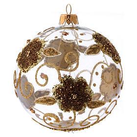 Bola de Natal vidro transparente orquídeas douradas com glitter 100 mm s1