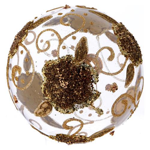 Bola de Natal vidro transparente orquídeas douradas com glitter 100 mm 3