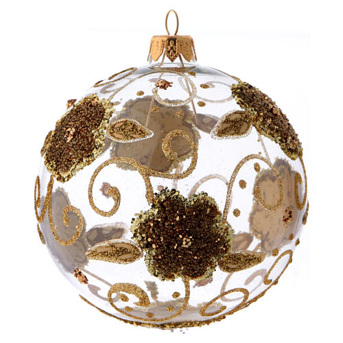 Transparent blown glass Christmas ball with gold flower decoration 10 cm 1