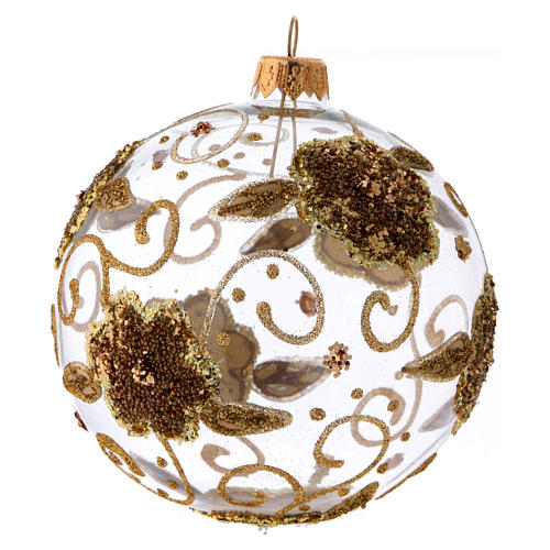 Transparent blown glass Christmas ball with gold flower decoration 10 cm 2