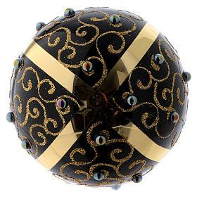 Bolita de Navidad vidrio negro con motivos dorados 100 mm s3