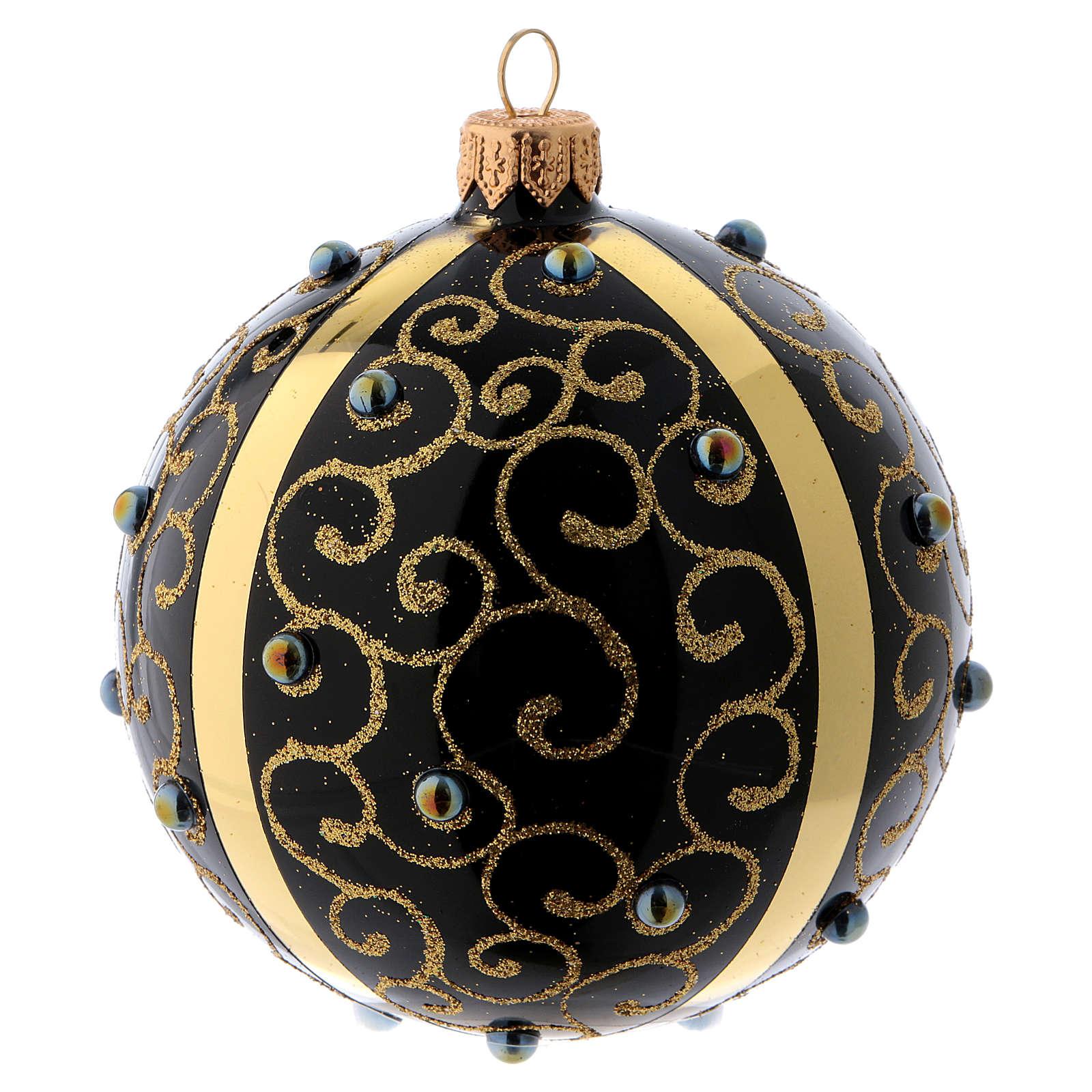 Pallina di Natale vetro nero con ghirigori dorati 100 mm 4