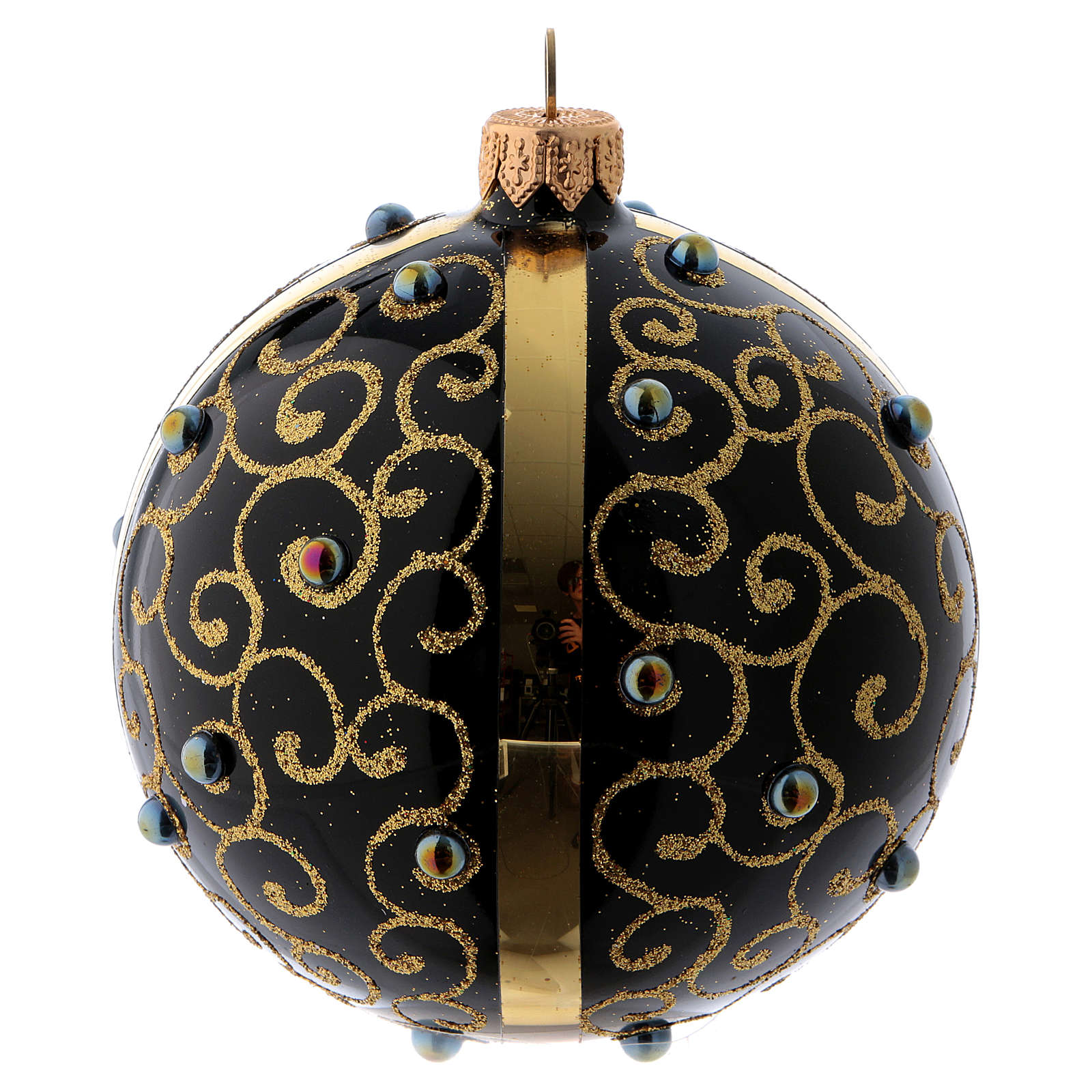 Black blown glass ball with gold glitter design and gems 10 cm 4