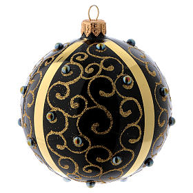 Black blown glass ball with gold glitter design and gems 10 cm s2