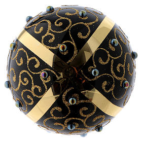 Black blown glass ball with gold glitter design and gems 10 cm s3