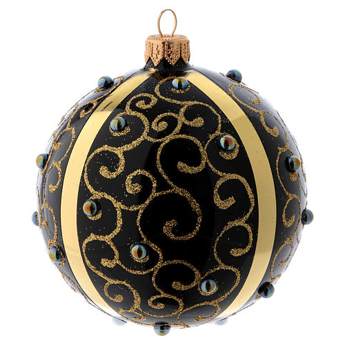 Black blown glass ball with gold glitter design and gems 10 cm 2