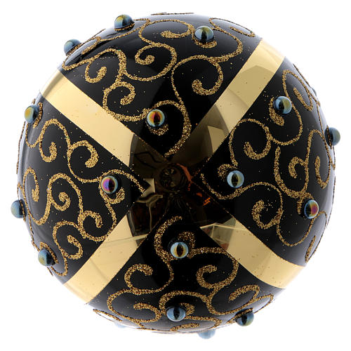 Black blown glass ball with gold glitter design and gems 10 cm 3