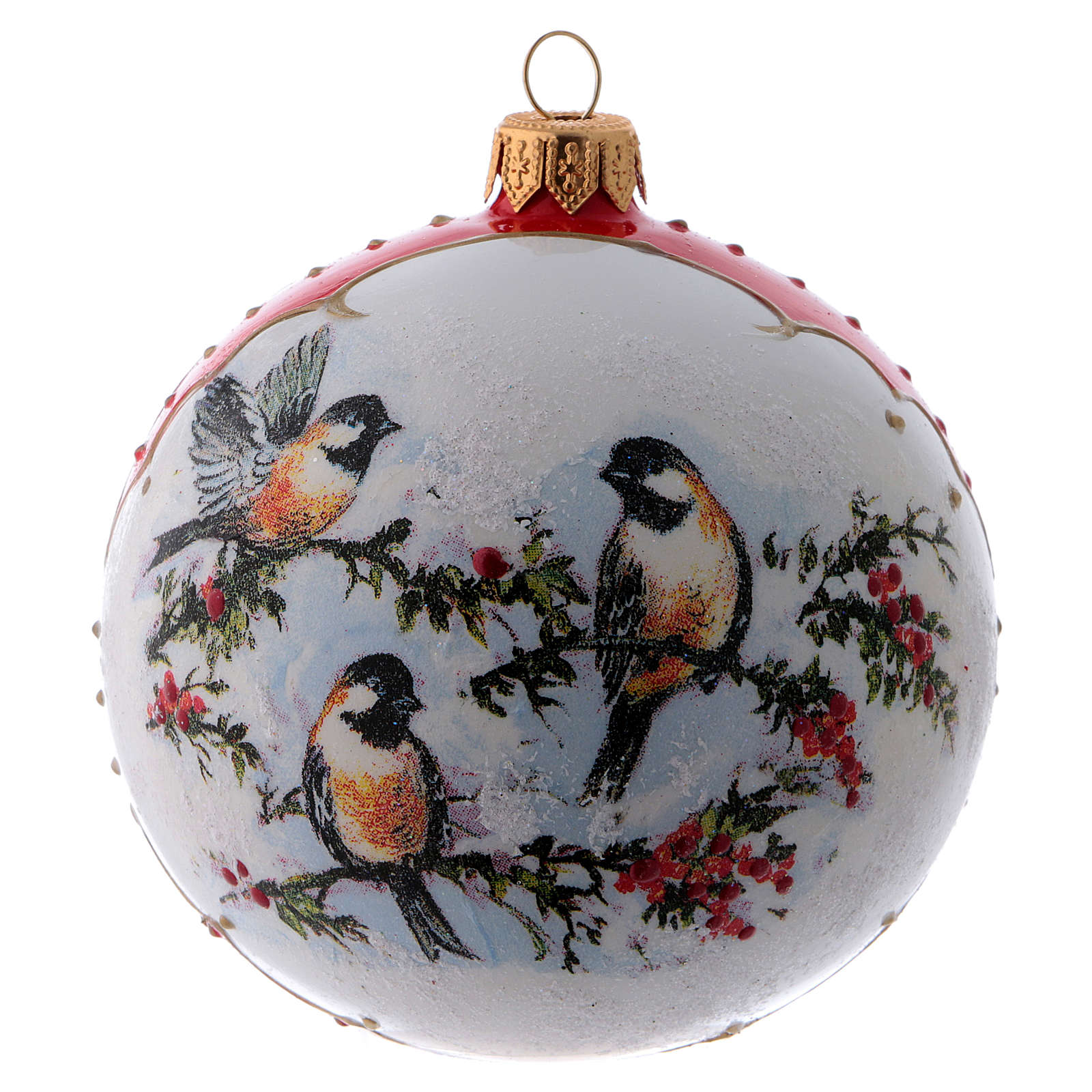 Bola Navidad vidrio blanco adorno pájaros sobre ramas de acebo 100 mm 4