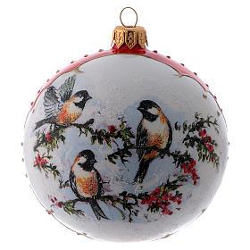 Bola Navidad vidrio blanco adorno pájaros sobre ramas de acebo 100 mm s1