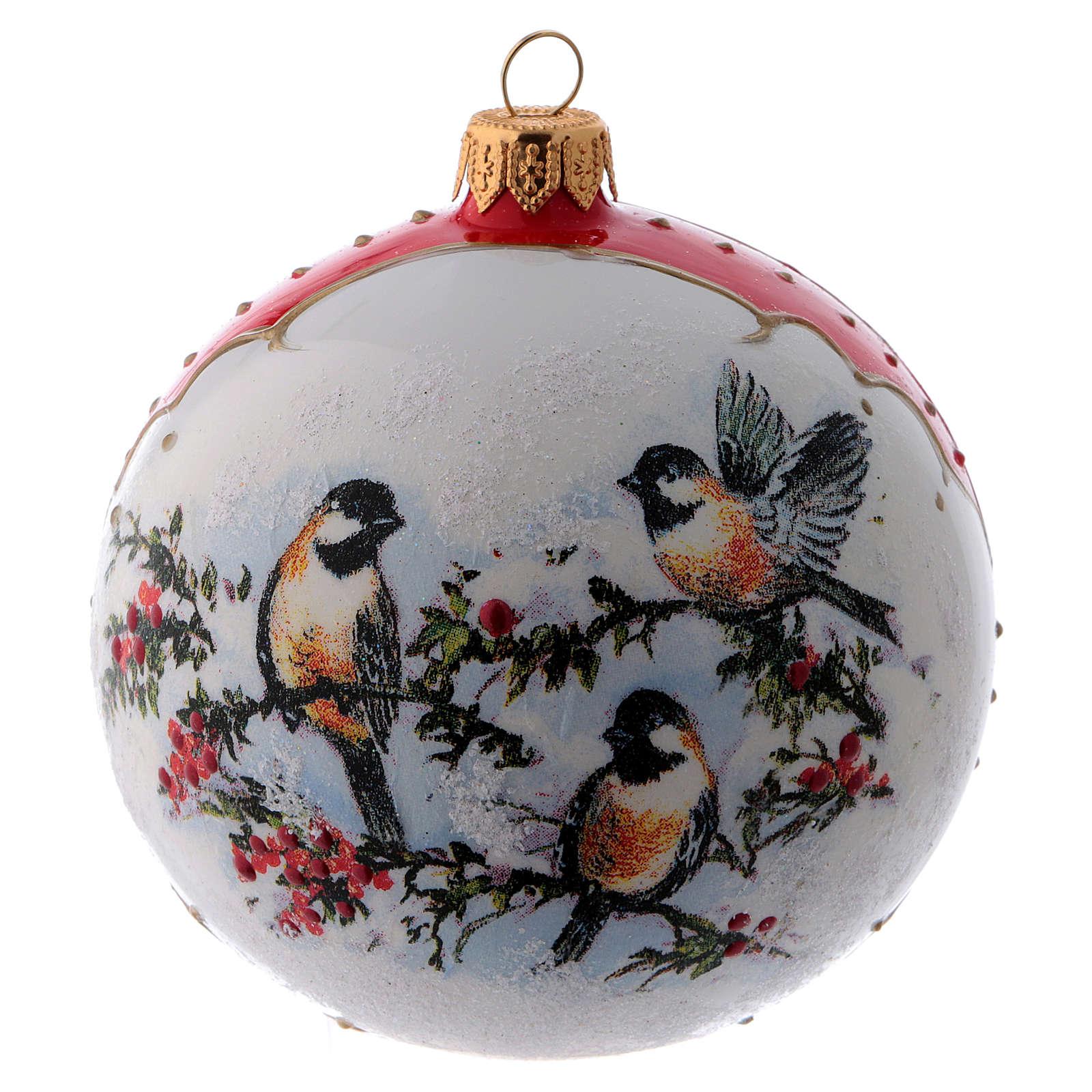 Pallina Natale vetro bianco ornamento Uccelli su rami di Agrifoglio  100 mm 4