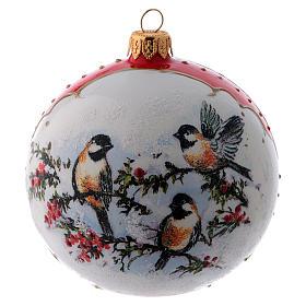 Pallina Natale vetro bianco ornamento Uccelli su rami di Agrifoglio  100 mm s3