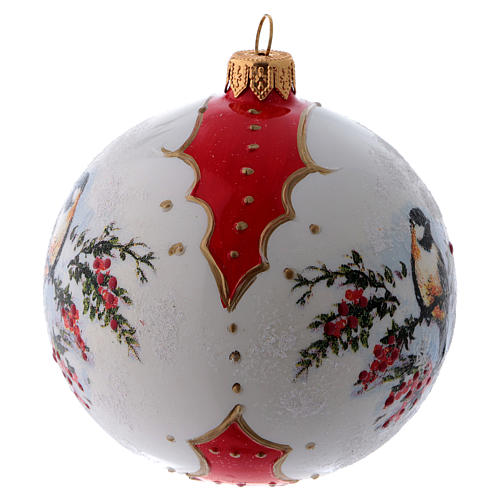 Pallina Natale vetro bianco ornamento Uccelli su rami di Agrifoglio  100 mm 2
